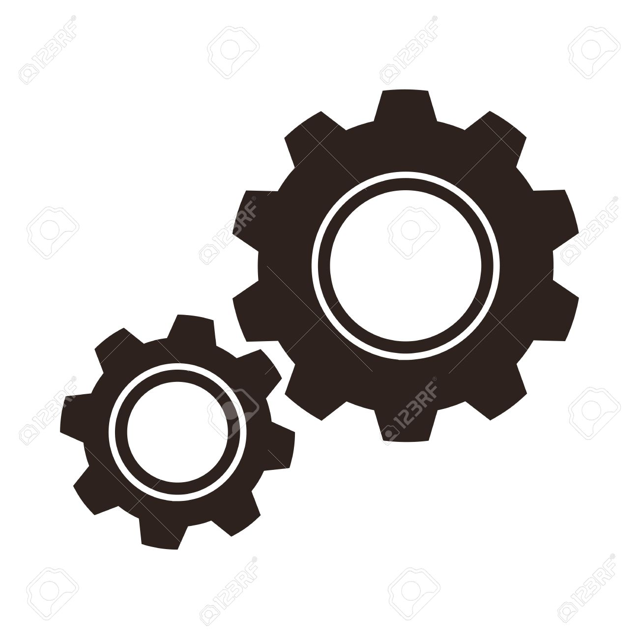 Gears cogs icon isolated on white background.