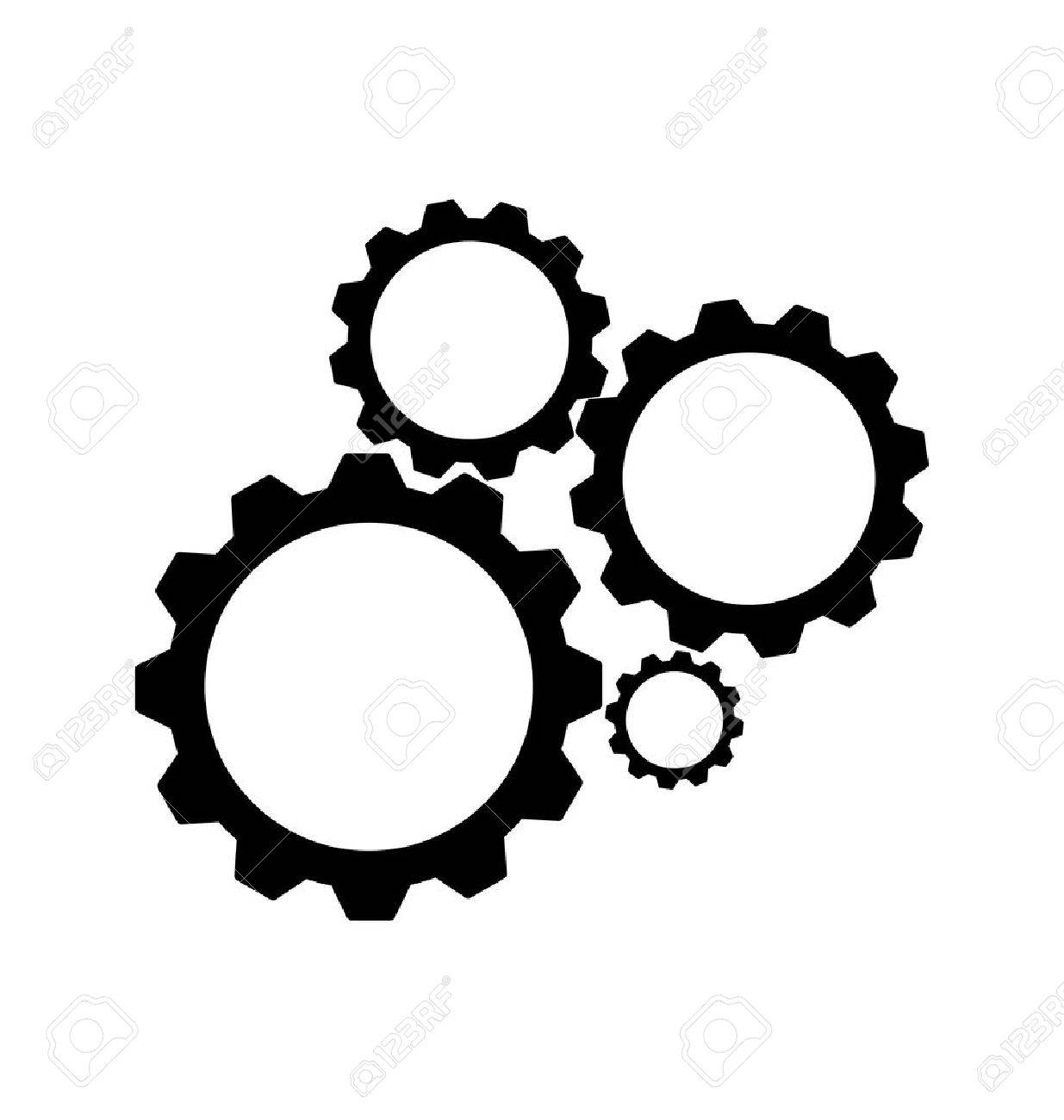 black cogs, gears on white background.