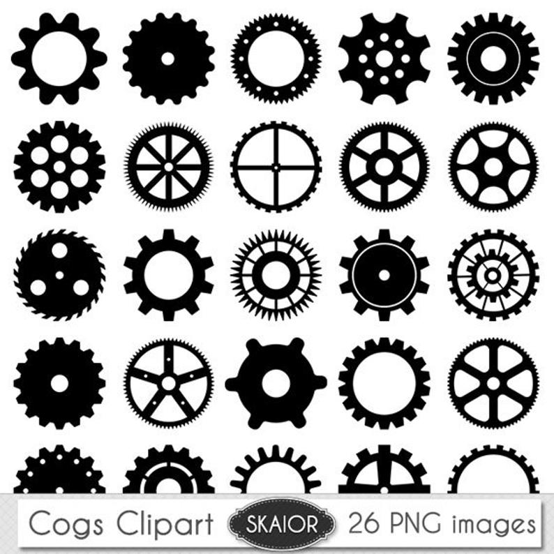 Cogs Clipart Vector Cogs Clip Art Steampunk Clipart Gears Clip Art Digital  Scrapbooking Invitations Logo Silhouette Clipart Instant Download.