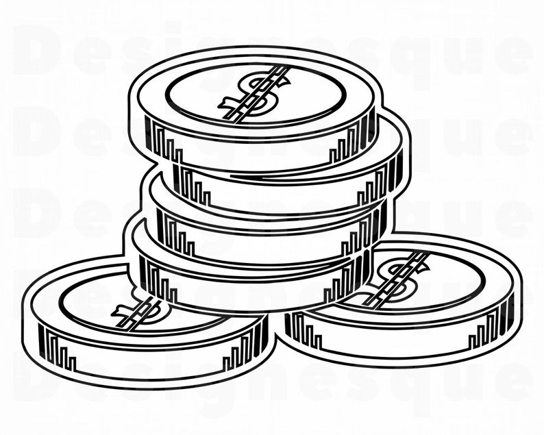 Coins Outline SVG, Money Svg, Coins Svg, Coins Clipart, Coins Files for  Cricut, Coins Cut Files For Silhouette, Coins Dxf, Png, Eps, Vector.
