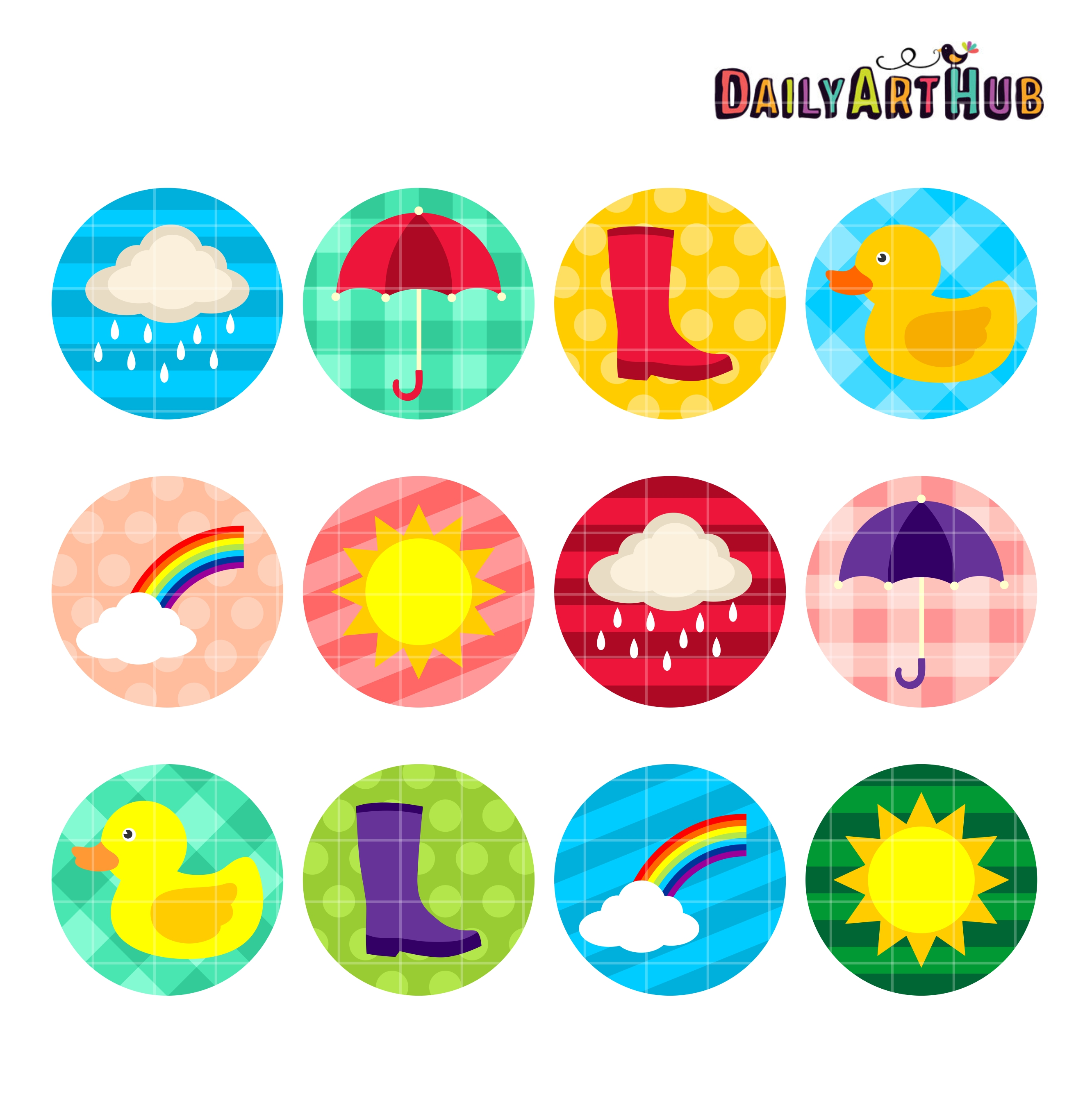 Rainy Days Collage Clip Art Set.