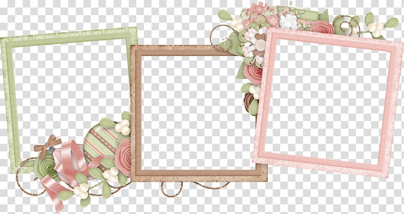 Three brown, pink, and beige frame templates, Frames Collage.