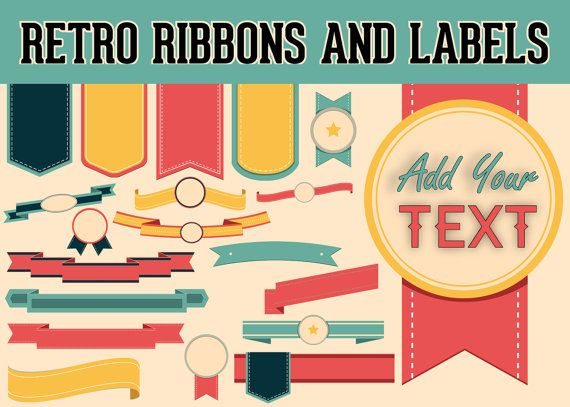 Retro Ribbons Labels Banners Clipart Graphic Design Elements.