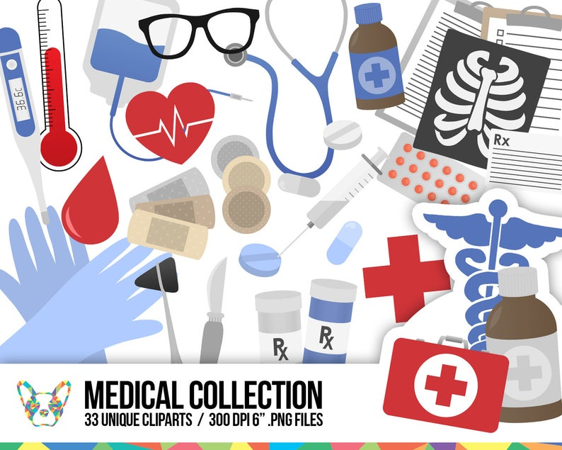 Medical Clipart Collection, Doctor Clipart, Health Clipart, Hospital  Clipart, Healthcare Clipart, Planner Clipart, Scrapbooking Cliparts.