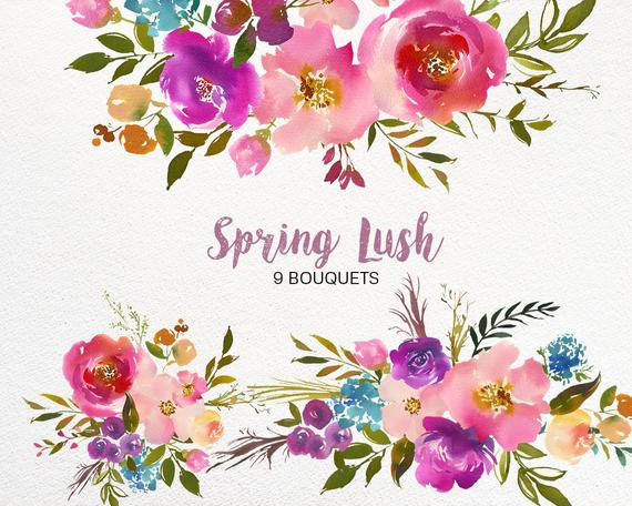 Spring Lush Watercolor Floral Clipart Collection PNG Pink Purple Turquoise  Flowers Green Leaves Bouquets DIY Wedding Invitations Nursery.