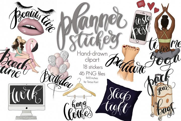 Planner Stickers Clipart Collection.