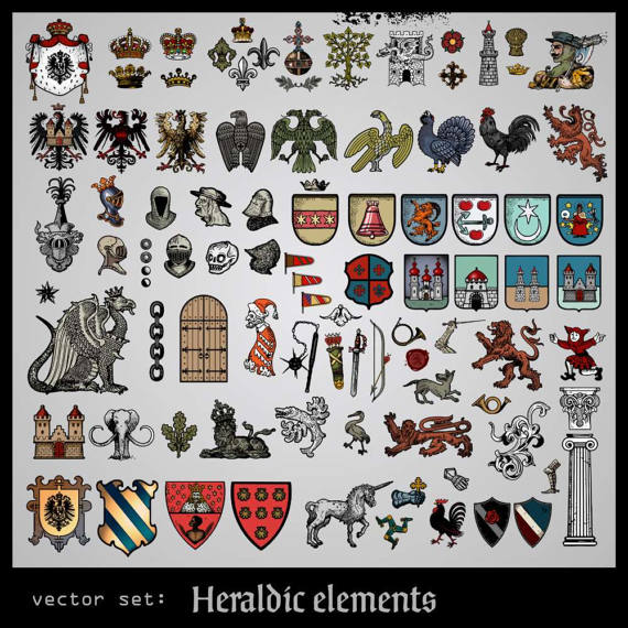 Heraldic Elements, Coat of Arms Symbols, Collection, Vector.