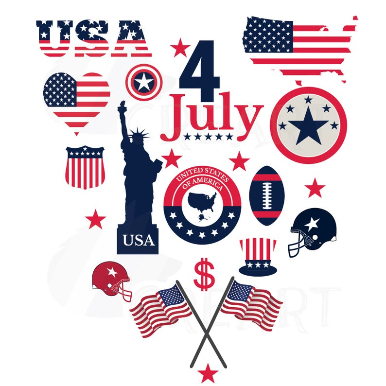 USA Symbols clipart collection for national holydays and 4th of July. USA  flag, map, heart. Ai, png, jpg, pdf, dxf and EPS files included..