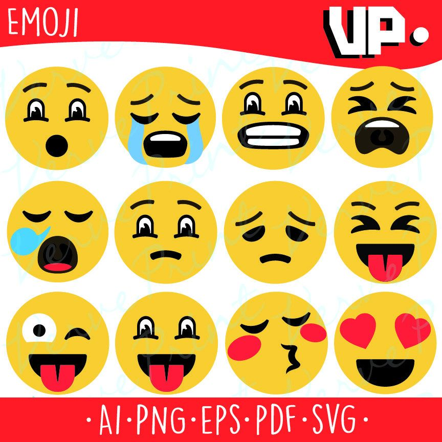 Emoji Svg Collection, Ai, Eps, Pdf Cutting file, Smiley face vector.