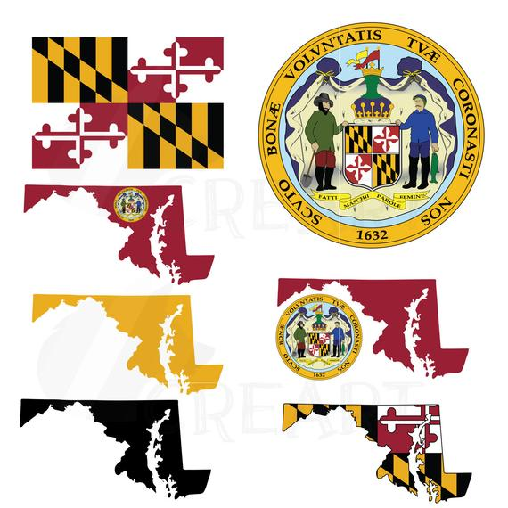 Maryland State Map clipart collection, flag, seal, symbols. AI, eps, svg,  png and pdf Files included, vector file, easy editing, silhouettes.