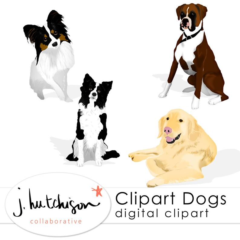Commercial Use Instant Download Clip Art Dogs.