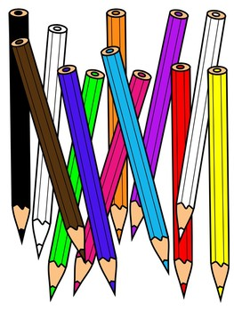 COLORED PENCILS CLIPART * COLOR AND BLACK AND WHITE.