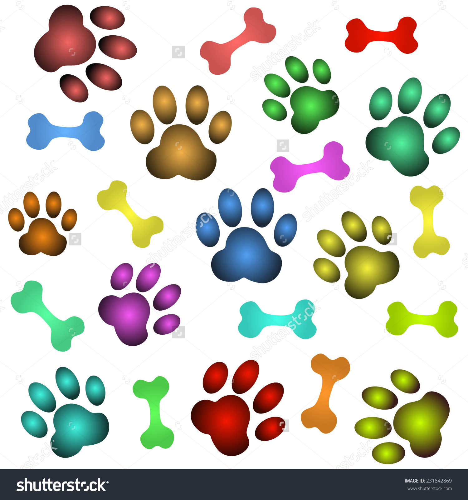 Background Dog Paw Bone Stock Vector 231842869.