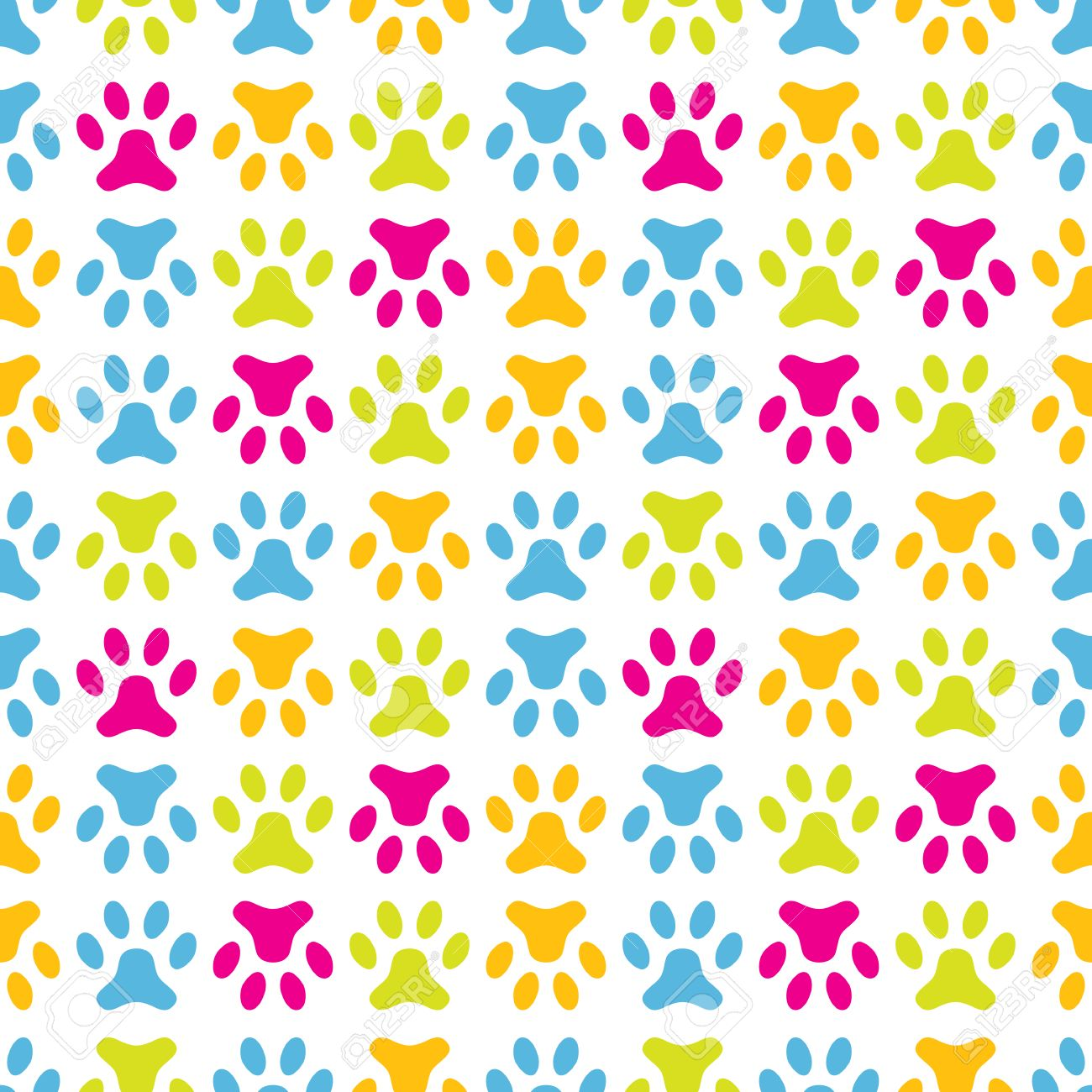 Animal Seamless Vector Pattern Of Paw Footprint Endless Texture.