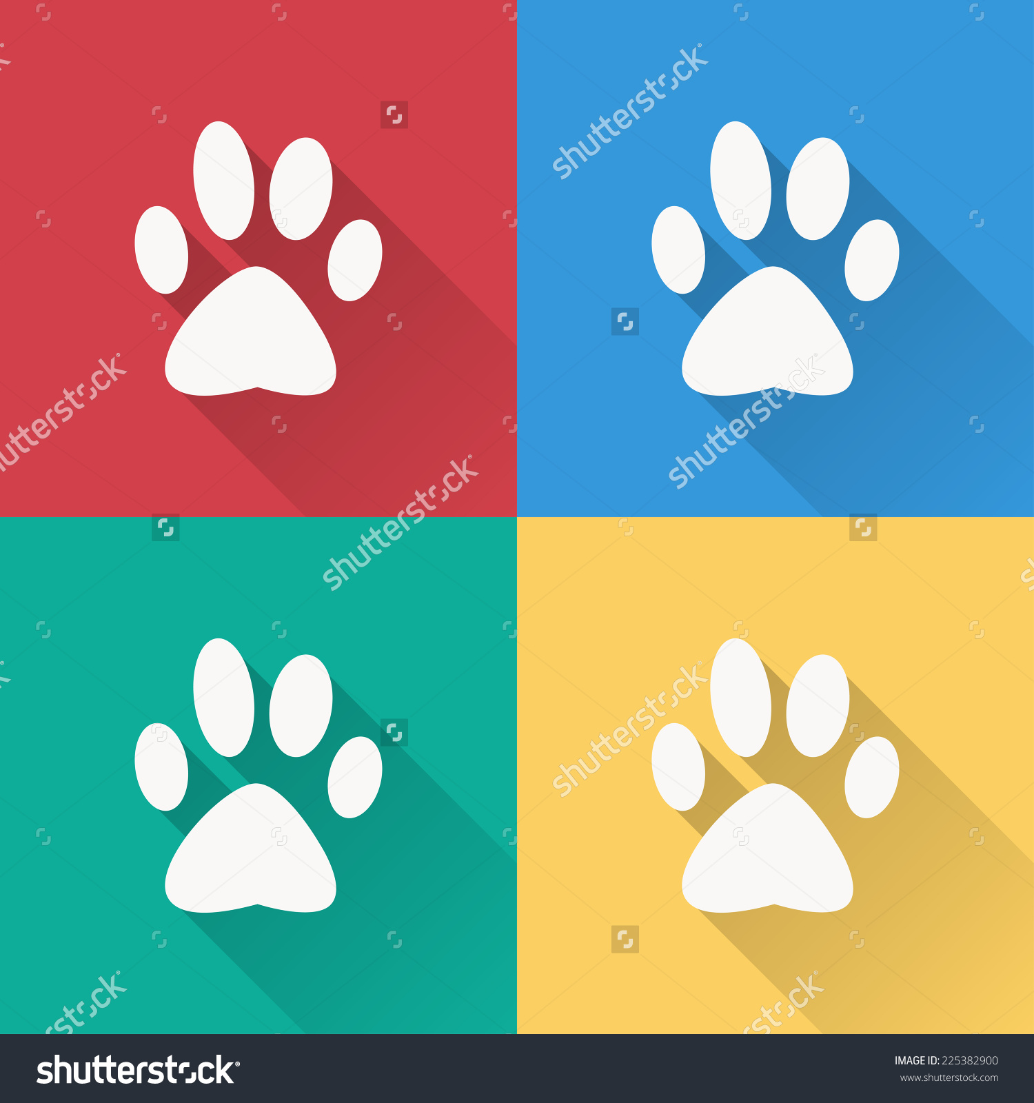 Dog Paw Icon Flat Design On Stock Vector 225382900.