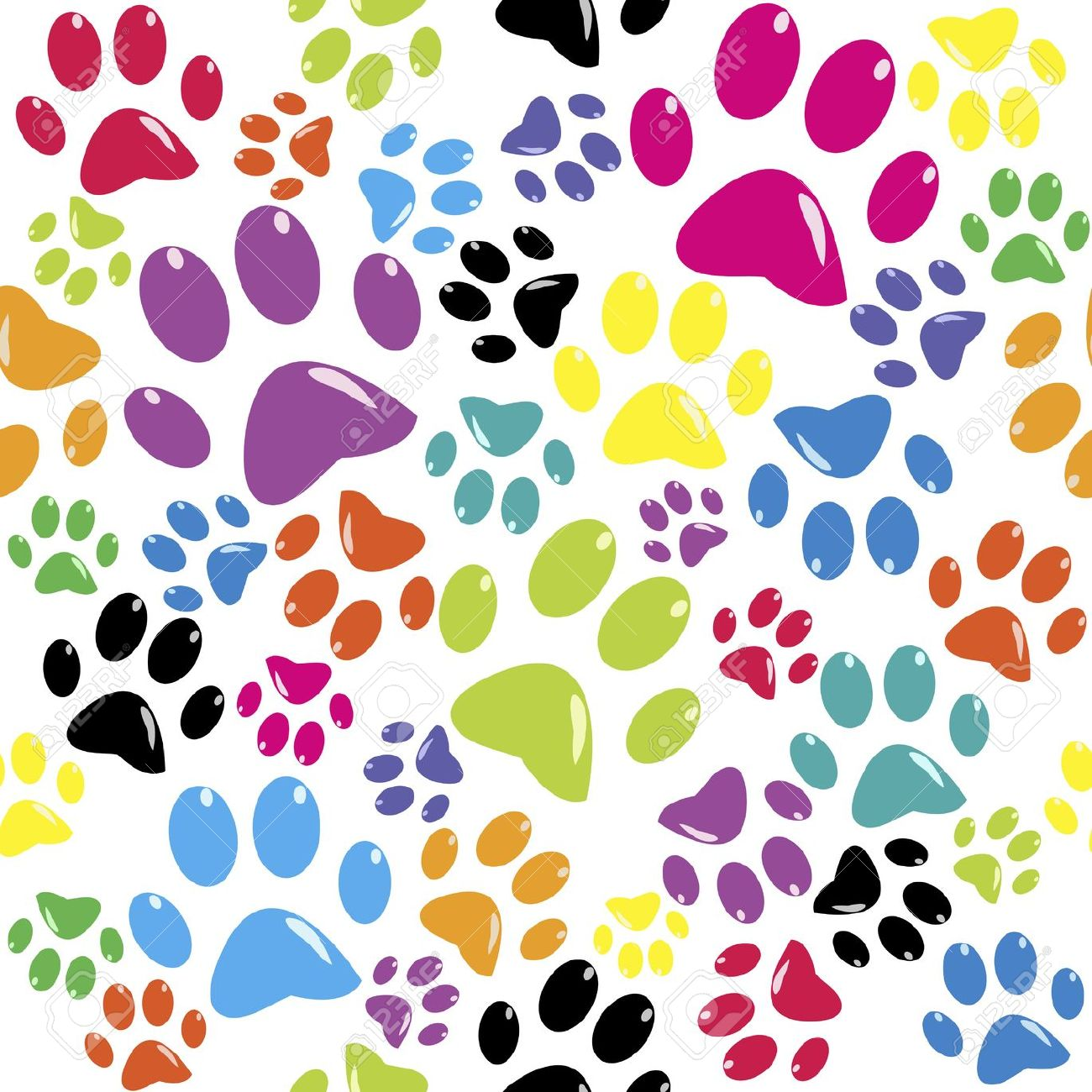 Seamless Pattern With Colored Paws Royalty Free Cliparts, Vectors.