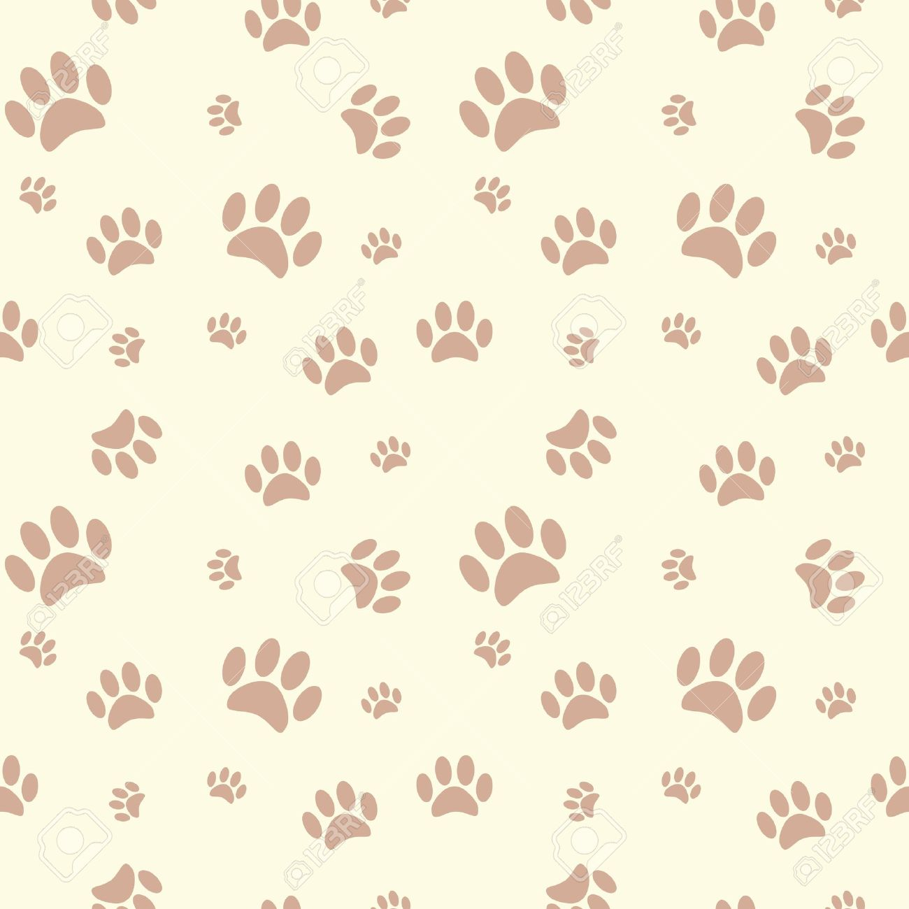 Background With Dog Paw Print And Bone Royalty Free Cliparts.