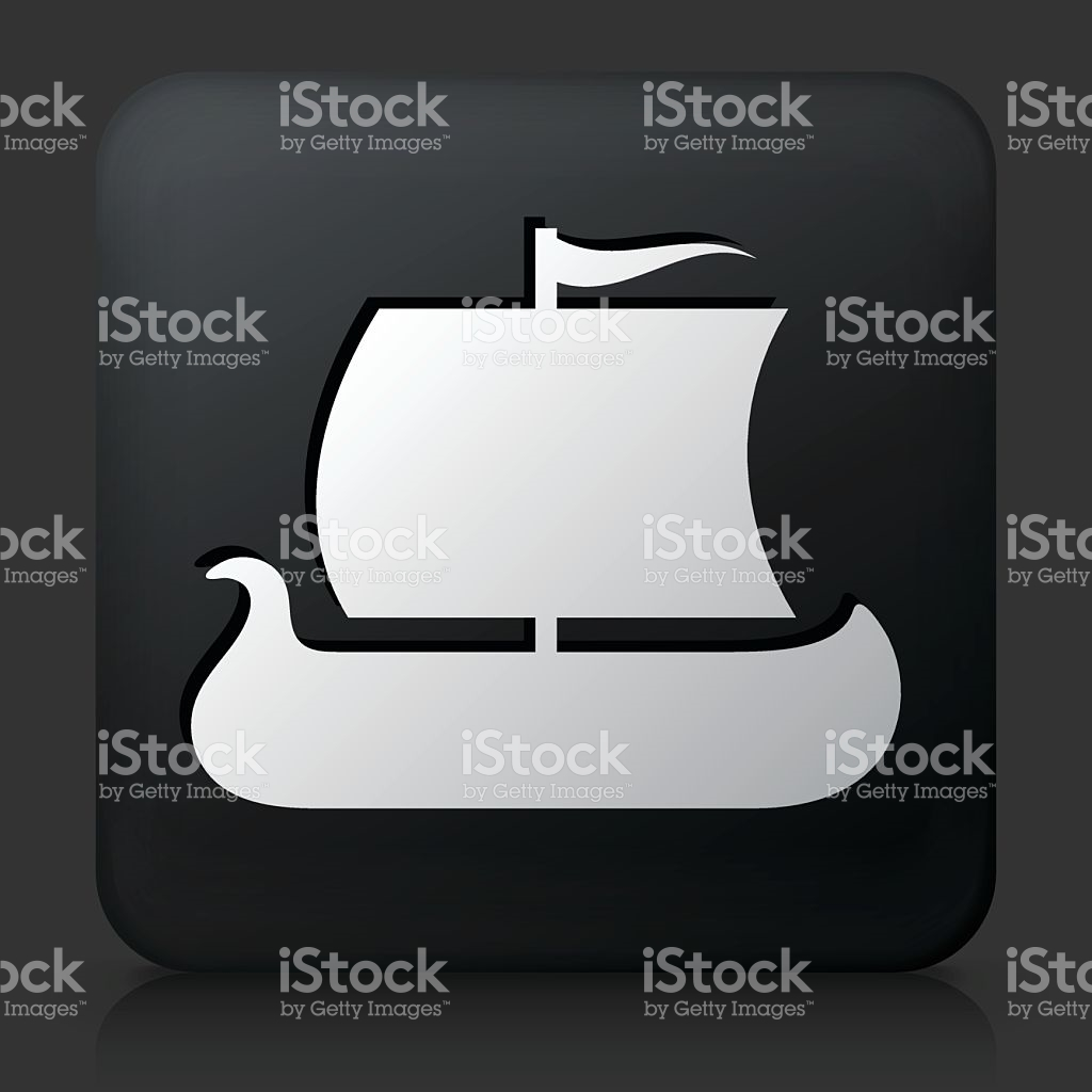 Black Square Button With Viking Ship stock vector art 481765976.