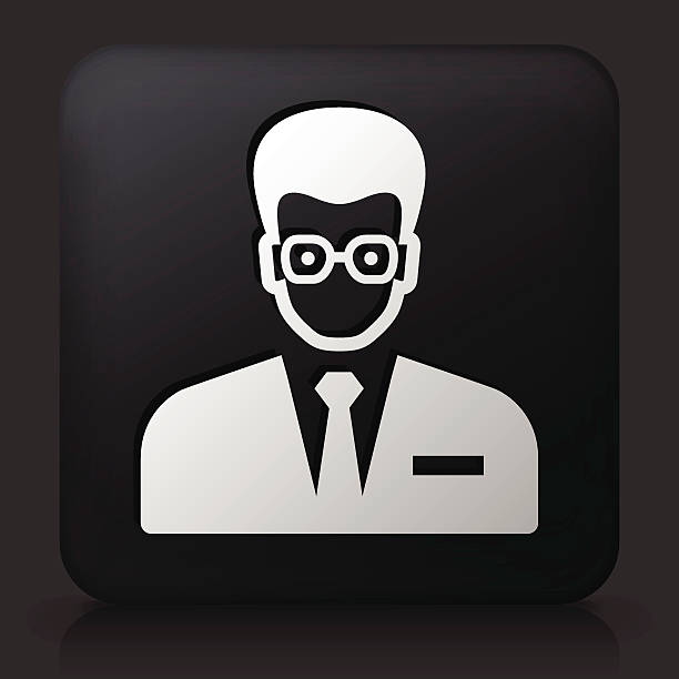 Businessman With Glasses On Color Square Buttons Clip Art, Vector.