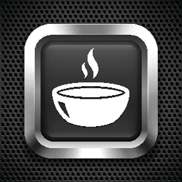 Bowl Of Soup On Color Square Buttons Clip Art, Vector Images.