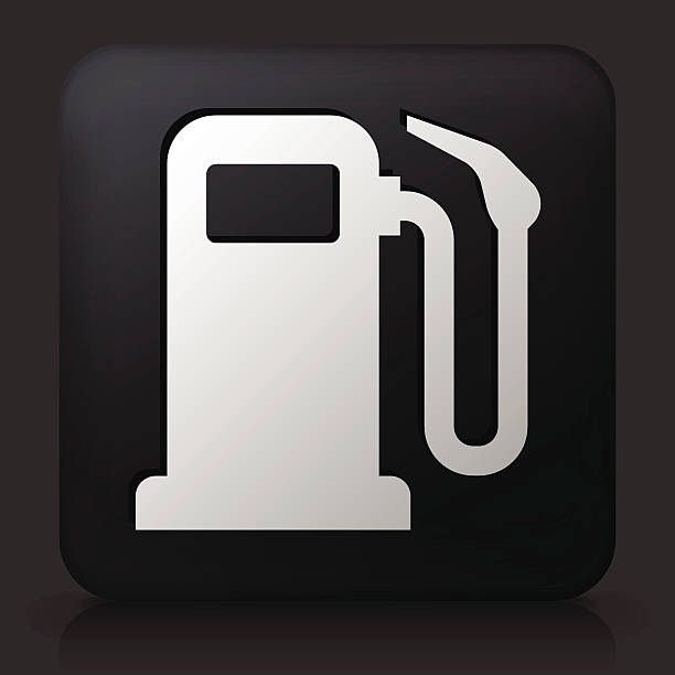 Gas Pump On Color Square Buttons Clip Art, Vector Images.