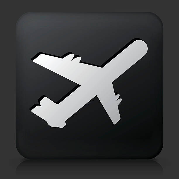 Airplane On Color Square Buttons Clip Art, Vector Images.