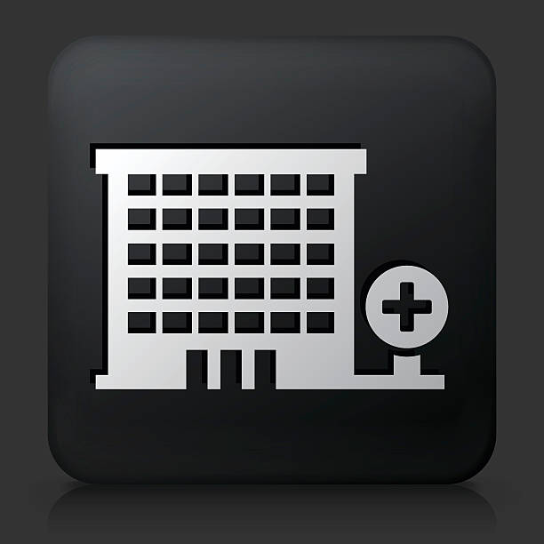 Hospital Building On Color Square Buttons Clip Art, Vector Images.