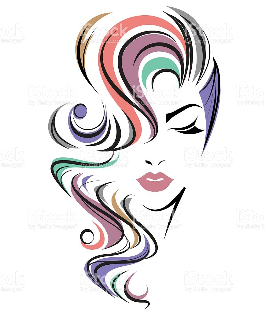 Women Color Hair Style Women Face On White Background stock vector.