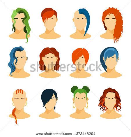 Set Hair Vector Stock Vector 445480798.
