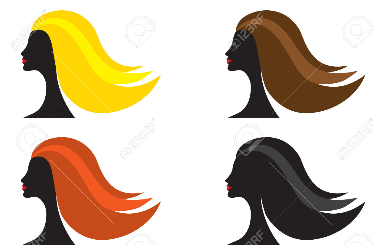 Four Female Silhouettes With Different Color Of Hair, Vector.
