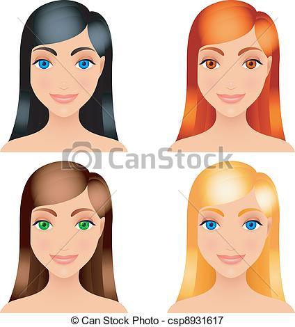 Vectors Illustration of Women hair colors..