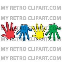 Row Of Different Colored Hand Prints Clipart Illustration.