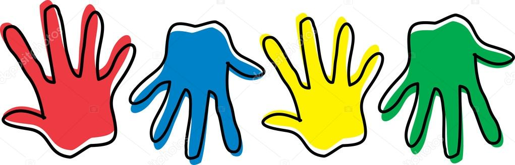 Row Of Different Colored Hand Prints — Stock Vector © ClipArtGuy.