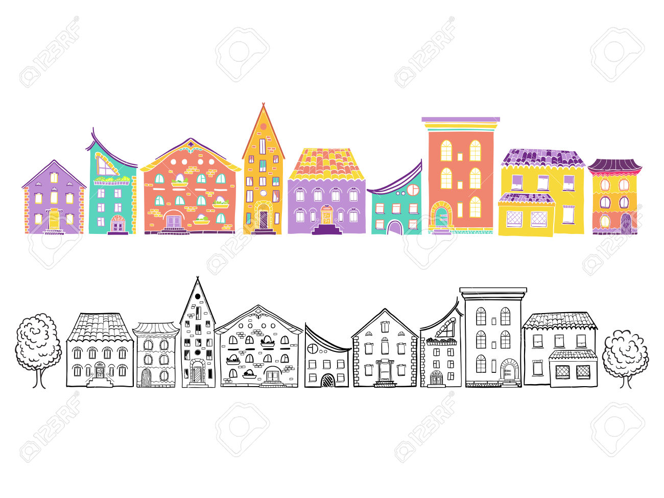 Two Row Of Houses, Color And Monochrome, Set Of Doodle Hand.