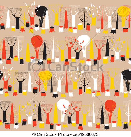 Vectors Illustration of Trees seamless row pattern tapestry in.