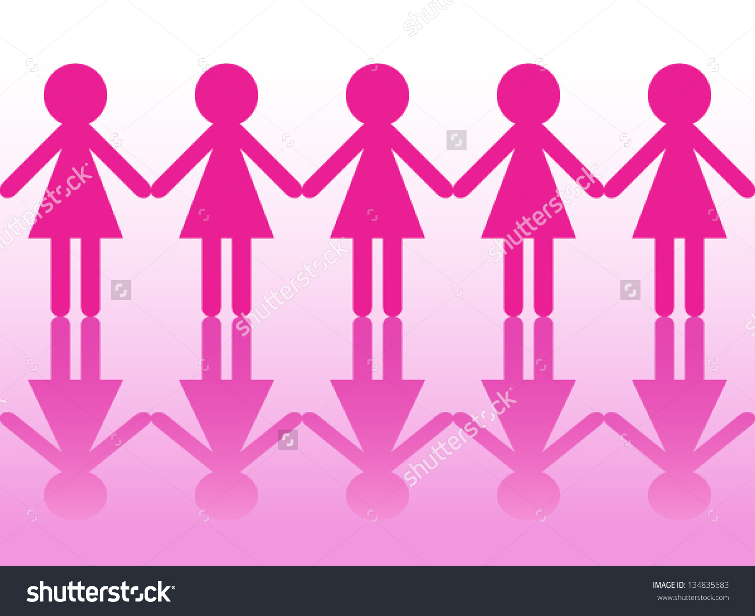 Seamless Row Women Silhouettes Holding Hands Stock Vector.
