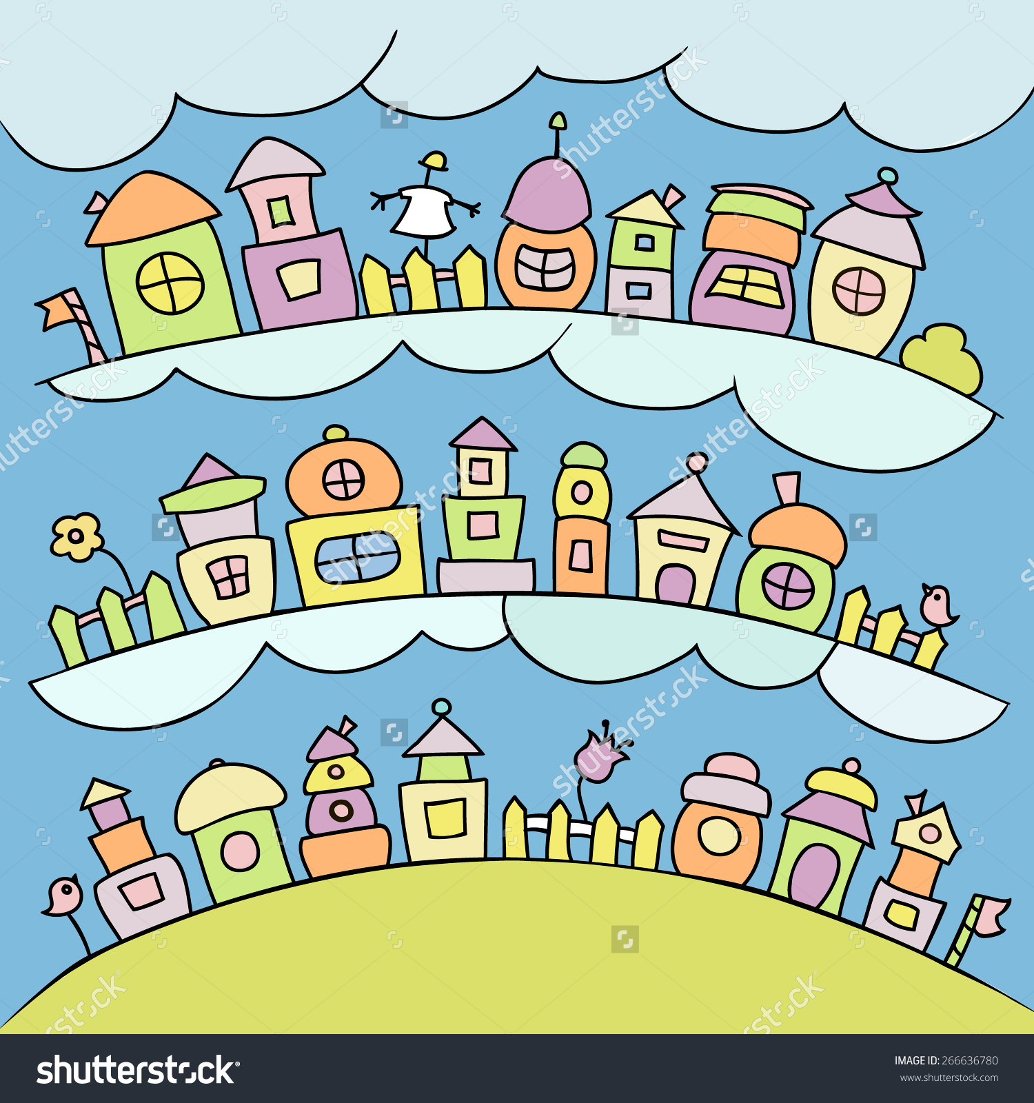 Colored Kids Town With Clouds And Cute Elements. Cartoon Houses In.