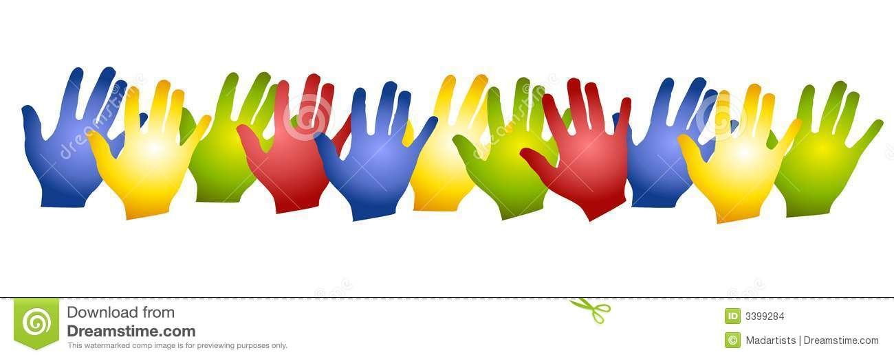 Row Colorful Hands Silhouettes Stock Images.