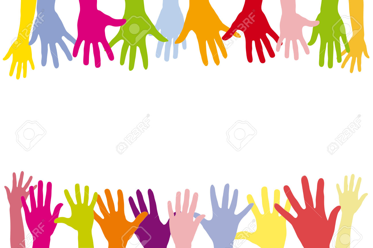 Children Holding Many Colorful Hands In A Row As A Background.