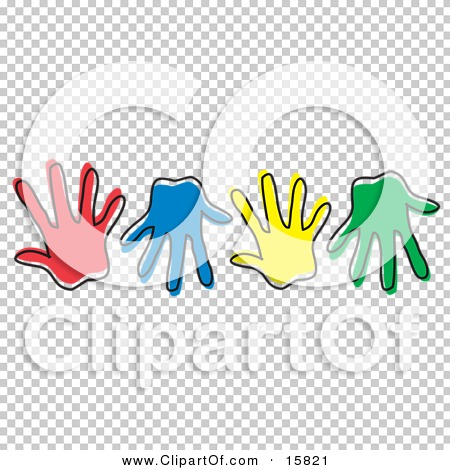 Row Of Different Colored Hand Prints Clipart Illustration by Andy.