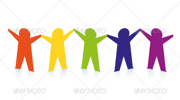 Abstract Colorful Paper People Isolated on White.
