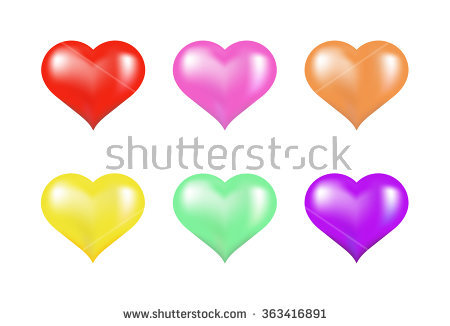 Selection Colored Hearts Use On Website Stock Illustration.