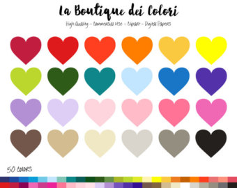 40% OFF SALE Patterned Hearts Clipart, Colorful Hearts Clip Art.