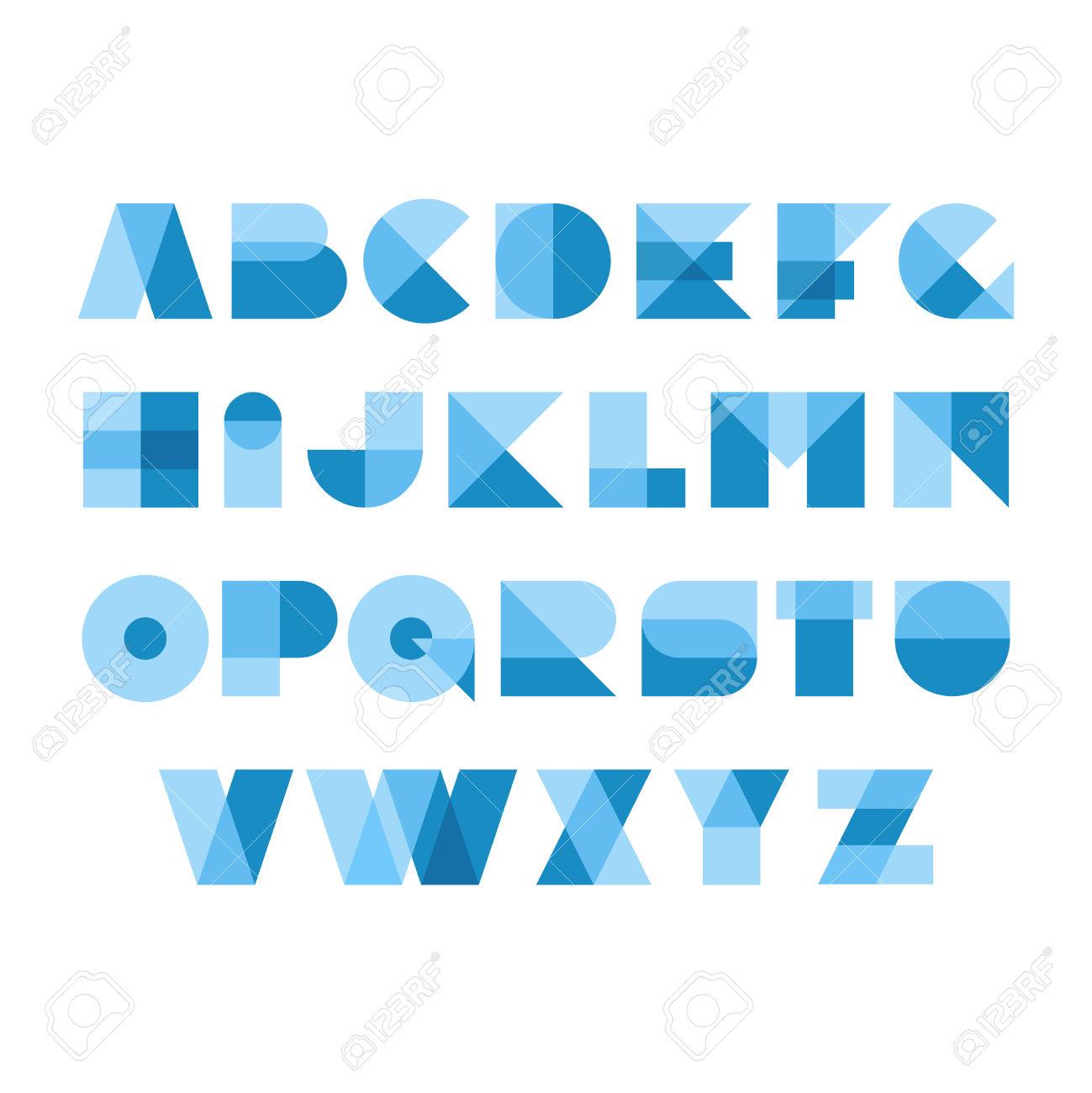 Geometric Shapes Font Alphabet. Overlay Transparent Style Letters.