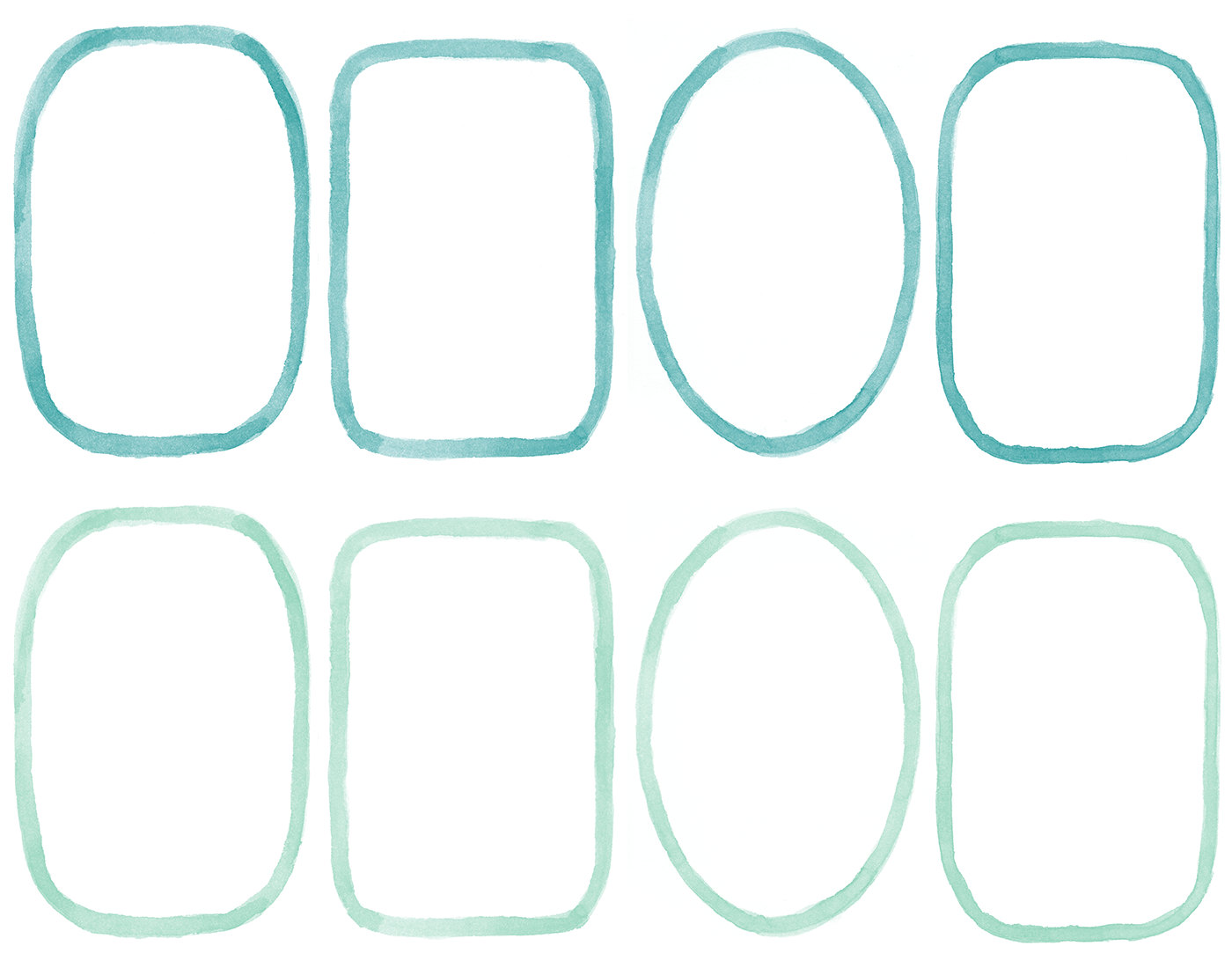 Watercolor Border Frames Clipart Overlays.