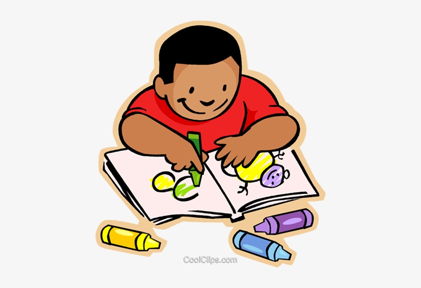Little Boy With Crayons And Coloring Book Royalty Free.