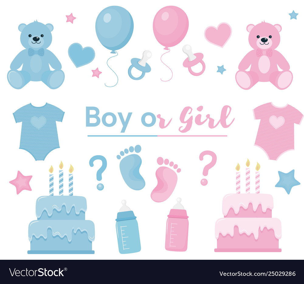 Gender reveal clipart blue and pink colors.