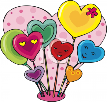Valentine's Balloons Clipart Image.