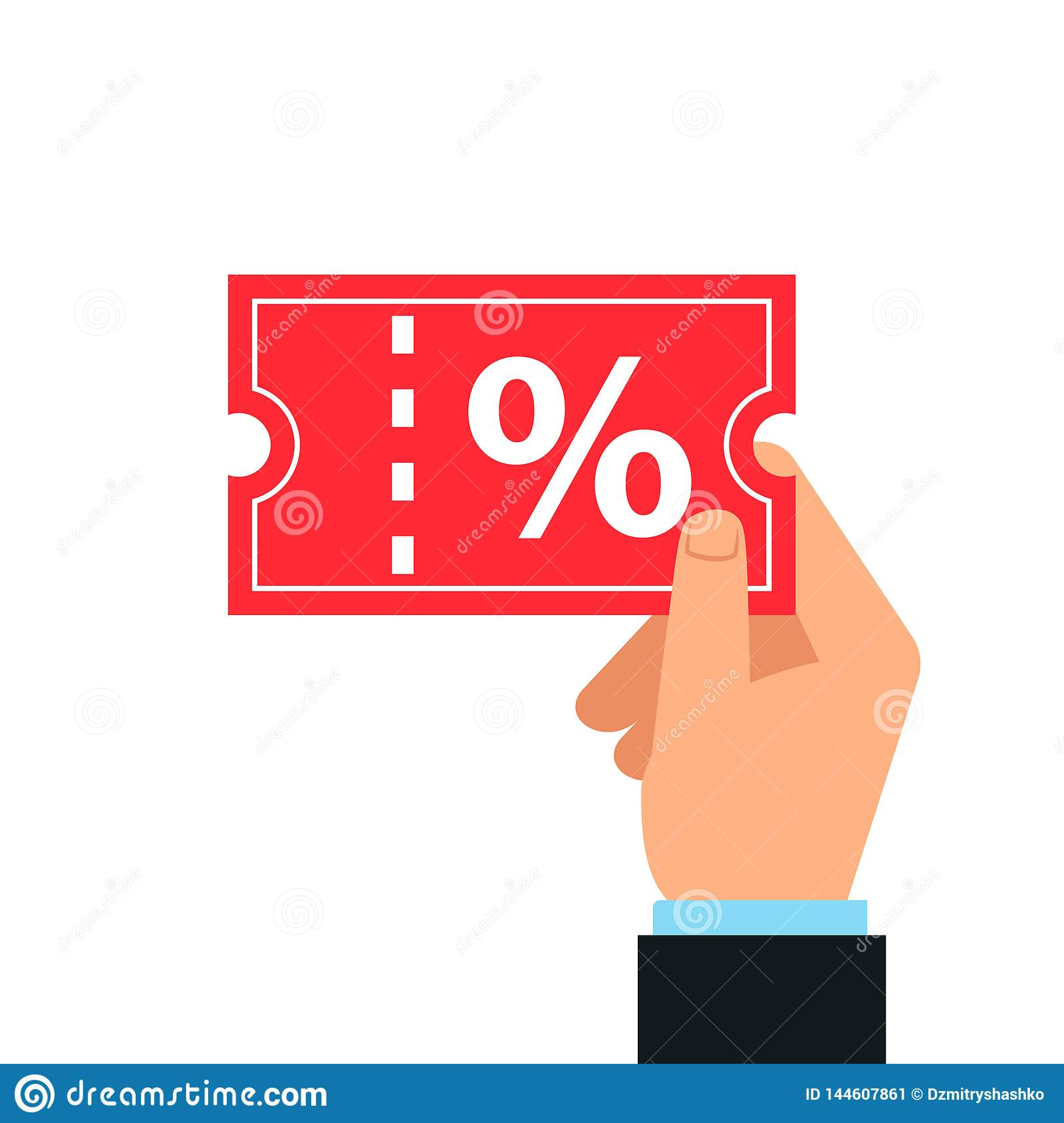 Hand Holding Discount Coupon. Stock Vector.