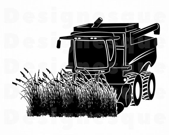 Combine Harvester #2 SVG, Wheat Harvester Svg, Combine Svg.